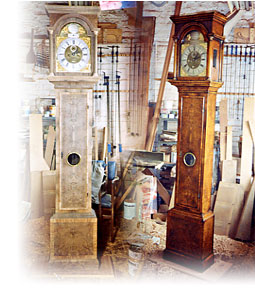 A long case clock - before and after restoration